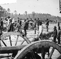 0409107 © Granger - Historical Picture ArchiveCIVIL WAR: BATTERY, 1862.   Union battery during the Peninsular Campaign in the vicinity of Fair Oaks, Virginia. Photograph, 1862.
