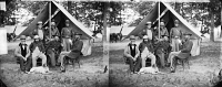 0409235 © Granger - Historical Picture ArchiveCIVIL WAR: UNION GENERALS.   General George Stoneman (seated, right) and General Henry M Naglee (seated, third from left) and members of their staff near Fair Oaks, Virginia. Photograph by James F. Gibson, June 1862.