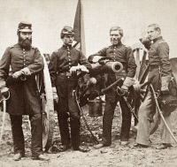 0409300 © Granger - Historical Picture ArchiveCIVIL WAR: MAJOR ROBERTSON.   Major James M. Robertson (third from left) and officers near Fair Oaks, Virginia. Photograph by James F. Gibson, c1863.