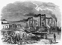 0054592 © Granger - Historical Picture ArchiveCAPTURE OF VICKSBURG, 1863.   The capture of Vicksburg, Mississippi, by Union forces during the Civil War. Admiral David Dixon Porter's fleet arrives at the levee on 4 July 1863. Contemporary American wood engraving.