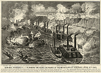 0128524 © Granger - Historical Picture ArchiveCIVIL WAR: VICKSBURG, 1863.   Admiral David Porter's fleet on the Mississippi River, bombarding the Confederate blockade at Vicksburg, 16 April 1863. Lithograph by Currier and Ives, 1863.
