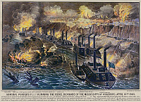 0128525 © Granger - Historical Picture ArchiveCIVIL WAR: VICKSBURG, 1863.   Admiral David Porter's fleet on the Mississippi River, bombarding the Confederate blockade at Vicksburg, 16 April 1863. Lithograph by Currier and Ives, 1863, digitally colored by Granger, NYC -- All rights rese