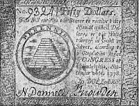 0023436 © Granger - Historical Picture ArchiveCONTINENTAL CURRENCY, 1778.   United States Continental Currency fifty dollar banknote, 1778.