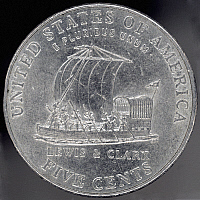 0077699 © Granger - Historical Picture ArchiveLEWIS & CLARK NICKEL, 2004.   Reverse of United States nickel, 2004, comemmorating the Lewis & Clark expedition of 1804-06.