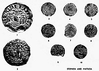 0092757 © Granger - Historical Picture ArchiveSTEPHEN AND MATILDA COINS.   English pence of the period 1135 to 1154. 1 and 3. Stephen, type I; 2. Empress Matilda; 4. Stephen, type II; 5. Stephen, type VII; Stephen and Queen Matilda; 7. Robert de Stuteville; 8. Eustache Fitzjohn; 9. Henry of Blois, Bishop of Winchester;' 10. 'Pereric.'
