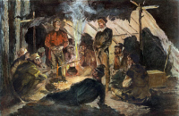 0008579 © Granger - Historical Picture ArchiveFUR TRADE: VOYAGEURS.   'Vouyageurs in Camp for the Night.' Illustration by Frederic Remington.