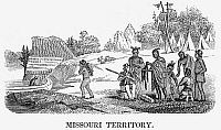 0078678 © Granger - Historical Picture ArchiveFUR TRADERS, 1853.   Fur traders and Native Americans in the Missouri Territory. American wood engraving, 1853.
