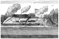 0060126 © Granger - Historical Picture ArchiveHUDSON BAY COMPANY.   Fort Nelson at the mouth of the Nelson River on the southwest coast of Hudson Bay, sometimes held by the English, sometimes by the French, and shown in this 1722 engraving under attack by the French.