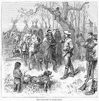 0096051 © Granger - Historical Picture ArchiveCANADA: FUR TRADERS, 1879.   Meeting between Native American and Canadian fur traders of the Hudson's Bay Company. Wood engraving, 1879.