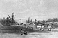 0172508 © Granger - Historical Picture ArchiveWASHINGTON: VANCOUVER.   Native Americans on the grounds of Fort Vancouver, trading post of the Hudson's Bay Company at the site of present-day Vancouver, Washington, on the north shore of the Columbia River. Lithograph, 1848, after a drawing, 1845, by Lieutenant Henry J. Warre.