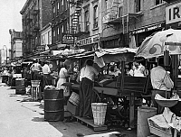 0106543 © Granger - Historical Picture ArchivePUSHCART MARKET, 1939.   A pushcart market on Belmont Avenue, Brooklyn, New York. Photograph, 1939.