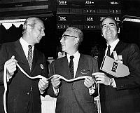 0259929 © Granger - Historical Picture ArchiveNEW YORK STOCK EXCHANGE.   Executive Vice President of Sony, Akio Morita, with NYSE President Robert Haack and Albert Fried on the floor of the New York Stock Exchange, on the first trading day of the Sony Corporation on the NYSE. Photograph, 1970.