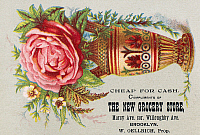 0098204 © Granger - Historical Picture ArchiveFLORIST TRADE CARD, c1890.   Merchant's trade card for the New Grocery Store, Brooklyn, New York. Lithograph, c1890.