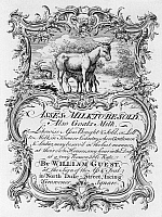 0131573 © Granger - Historical Picture ArchiveTRADE CARD: MILK, 1700s.   Engraved trade card of an asses' and goats' milk vendor in Grosvenor Square, London England, mid-18th century.