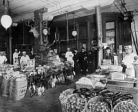 0175872 © Granger - Historical Picture ArchiveBUTCHER SHOP, c1900.   F.M. Smith & Co. game butcher shop, Chicago, Illinois. Photographed c1900.
