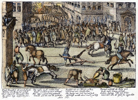 0074246 © Granger - Historical Picture ArchiveRAVAILLAC EXECUTION, 1610.   The execution by drawing and quartering of François Ravaillac at Paris, 27 May 1610, for assassinating King Henry IV of France two weeks previously. Contemporary German engraving.