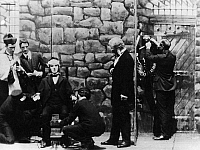 0322153 © Granger - Historical Picture ArchiveELECTRIC CHAIR, c1920.   Mutoscope still of a reenactment of an electric chair execution at Sing Sing prison, c1920.