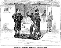 0076829 © Granger - Historical Picture ArchiveFLOGGING, 1878.   The Turkish bastinado. Wood engraving, 1878.