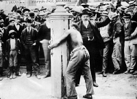 0433925 © Granger - Historical Picture ArchivePUBLIC FLOGGING, 1910.   A public flogging at a whipping post in Delaware. Photograph, c1910.