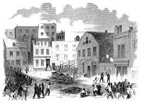 0065731 © Granger - Historical Picture ArchiveNEW YORK GANG WAR, 1857.   Battle between the Bowery Boys and the Dead Rabbits on the Lower East Side, 4 July 1857. Wood engraving from a contemporary American newspaper.