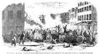 0065732 © Granger - Historical Picture ArchiveNEW YORK GANG WAR, 1857.   View from the 'Dead Rabbit' barricade in Bayard Street as the 'Rabbits' battled the 'Bowery Boys' on 4 July 1857 in New York's Sixth Ward. Wood engraving from a contemporary American newspaper.