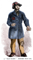 0065781 © Granger - Historical Picture ArchiveNY GANG: DEAD RABBIT, 1857.   A member of the New York Five Points gang, the Dead Rabbits. Wood engraving, American, 1857, digitally colored by Granger, NYC -- All Rights Reserved.