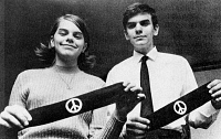 0078032 © Granger - Historical Picture ArchiveANTI-WAR STUDENTS, 1960s.   Mary Beth and John Tinker of Des Moines, Iowa, whose suspension from school in December 1965 for wearing armbands (shown) in protest of the Vietnam War was ruled unconstitutional on First Amendment grounds by the U.S. Supreme Court in the case of Tinker v. Des Moines School District, 1969.