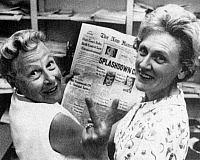 0078117 © Granger - Historical Picture ArchiveBIRTH CONTROL RULING, 1965.   Estelle Griswold, left, of New Haven, Connecticut, reading a newspaper account of the U.S. Supreme Court's ruling in her case, Griswold v. Connecticut, 7 June 1965, that the state law under which she had been convicted for distributing contraceptives was unconstitutional.