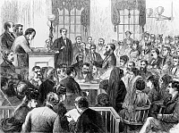 0131317 © Granger - Historical Picture ArchiveELIZABETH WHARTON TRIAL.   Inside the courthouse in Annapolis, Maryland during the trial of Elizabeth G. Wharton, charged with murdering General W.S. Ketchum with poison. Wood engraving by James E. Taylor, 1871.
