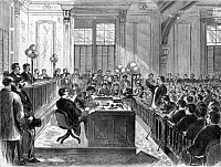 0131318 © Granger - Historical Picture ArchiveMcFARLAND TRIAL, 1870.   The first day of the trial of Daniel McFarland, charged with murder, in New York City. Wood engraving by Stanley Fox, 1870.