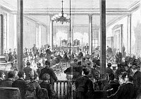 0131330 © Granger - Historical Picture ArchiveWHISKEY RING TRIAL, 1876.   Opening of the trial United States vs. Orville E. Babcock in St. Louis, Missouri. Babcock, then Secretary to the President, Ulysses S. Grant, was put on trial for his alleged involvement in a scandal in which whiskey distillers bribed Treasury Department agents and evaded taxes. Engraving, 1876.
