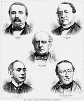 0265805 © Granger - Historical Picture ArchiveALABAMA CLAIMS TRIBUNAL.   The representatives of the Alabama Claims tribunal, Jakob Stämpfli, Federico Sclopis, Charles Francis Adams, Marcos Antônio de Araújo and Alexander Cockburn. Engraving, 1872.