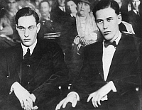 0046425 © Granger - Historical Picture ArchiveLEOPOLD & LOEB TRIAL, 1927.   Nathan F. Leopold (1906-1971) and Richard A. Loeb (1907-1936) in court at Joliet, Illinois, in 1927, after their incarceration for the murder of Bobbie Franks.