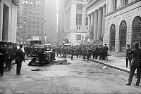 0120633 © Granger - Historical Picture ArchiveWALL STREET BOMBING, 1920.   Wreckage after the Wall Street terrorist bombing on 16 September 1920.