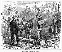 0005915 © Granger - Historical Picture ArchiveTEXAS: CHAIN GANG, 1874.   'Convicts at work in the Forest.' A chain gang in Texas. Wood engraving, 1874.