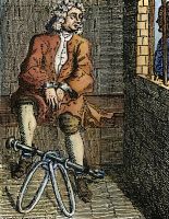 0009332 © Granger - Historical Picture ArchiveLONDON: DEBTOR'S PRISON.   A debtor in fetters at the Marshalsea Prison, London. Line engraving, 18th century.