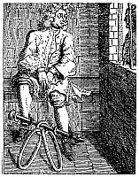 0032573 © Granger - Historical Picture ArchiveLONDON: DEBTOR'S PRISON.   A debtor in fetters at the Marshalsea Prison, London, England. Line engraving, 18th century.
