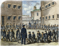 0067098 © Granger - Historical Picture ArchiveLONDON: CHILDREN'S PRISON.   Boys exercising at Tothill Fields Prison. Wood engraving, 1861, from Henry Mayhew's London Labour and the London Poor.