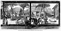 0073646 © Granger - Historical Picture ArchiveRAILROAD CREW, 1877.   Convict laborers from a railroad crew in western Louisiana under close supervision at a camp along the route of the proposed New Orleans Pacific Railroad, 1877. Wood engraving from a contemporary American newspaper.