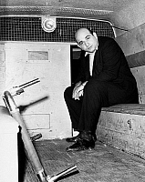 0093396 © Granger - Historical Picture ArchiveBOSTON: POLICE WAGON, 1965.   Vincent J. Flemmi, a Boston mobster, photographed in a police wagon after giving himself up, 1965.