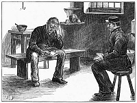 0268362 © Granger - Historical Picture ArchiveNEWGATE PRISON, 1873.   A guard and a condemned prisoner in a cell at Newgate Prison in London. Wood engraving, English, 1873.