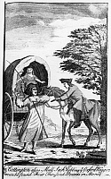 0125875 © Granger - Historical Picture ArchiveENGLAND: HIGHWAY ROBBERY.   John Cottington (c1611-1655), also known as Mul-Sack, robbbing a wagon in which he found 4,000 pounds sterling. Line engraving from 'A general and true history of...highwaymen' by Charles Johnson, London, 1742.
