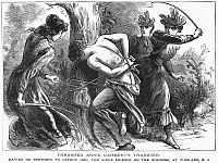 0093364 © Granger - Historical Picture ArchiveVIGILANTES, 1893.   Woman vigilantes whipping a man for slandering their friend. Wood engraving, 1893.