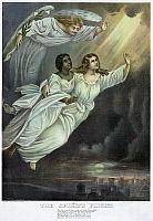 0116466 © Granger - Historical Picture ArchiveCURRIER AND IVES: GHOST.   'The Spirit's Flight'. An angel hovers above two spirits in flight. Lithograph by Currier and Ives, 1893.