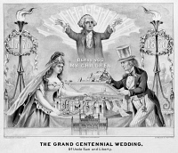 0623204 © Granger - Historical Picture ArchiveCENTENNIAL CARTOON, 1876.   'Grand Centennial Wedding of Uncle Sam and Liberty.' Engraving by Currier & Ives, 1876.