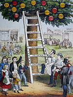 0011736 © Granger - Historical Picture ArchiveCURRIER & IVES: FORTUNE.  'Ladder of Fortune.'   Lithograph, 1875, by Currier & Ives.
