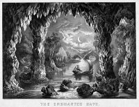 0623011 © Granger - Historical Picture ArchiveENCHANTED CAVE, c1867.   Man and woman on a boat in a fantastical, nightttime setting. Engraving by Currier & Ives, c1867.