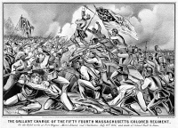 0623208 © Granger - Historical Picture ArchiveBATTLE OF FORT WAGNER, 1863.   'The Gallant Charge of the Fifty-Fourth Massachussetts (Colored) Regiment.' The Second Battle of Fort Wagner during the American Civil War, 18 July 1863. Engraving by Currier & Ives, 1863.
