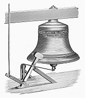 0090829 © Granger - Historical Picture ArchiveFIRE-ALARM BELL.   Fire-alarm bell produced by the Clinton H. Meneely Bell Company at Troy, New York. Line engraving, 19th century.