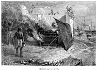 0077662 © Granger - Historical Picture ArchiveCREMATION, 19th CENTURY.   The burning ghaut at Calcutta, India. Wood engraving, English, 19th century.